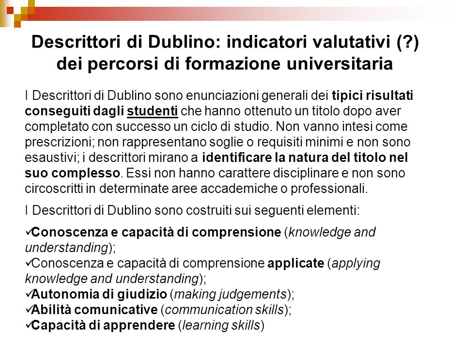 Descrittori di Dublino: indicatori valutativi (