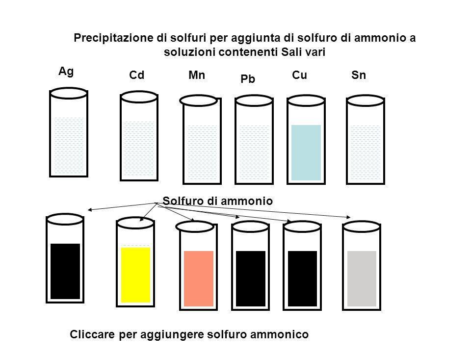 Precipitazione di solfuri per aggiunta di solfuro di ammonio a soluzioni contenenti Sali vari