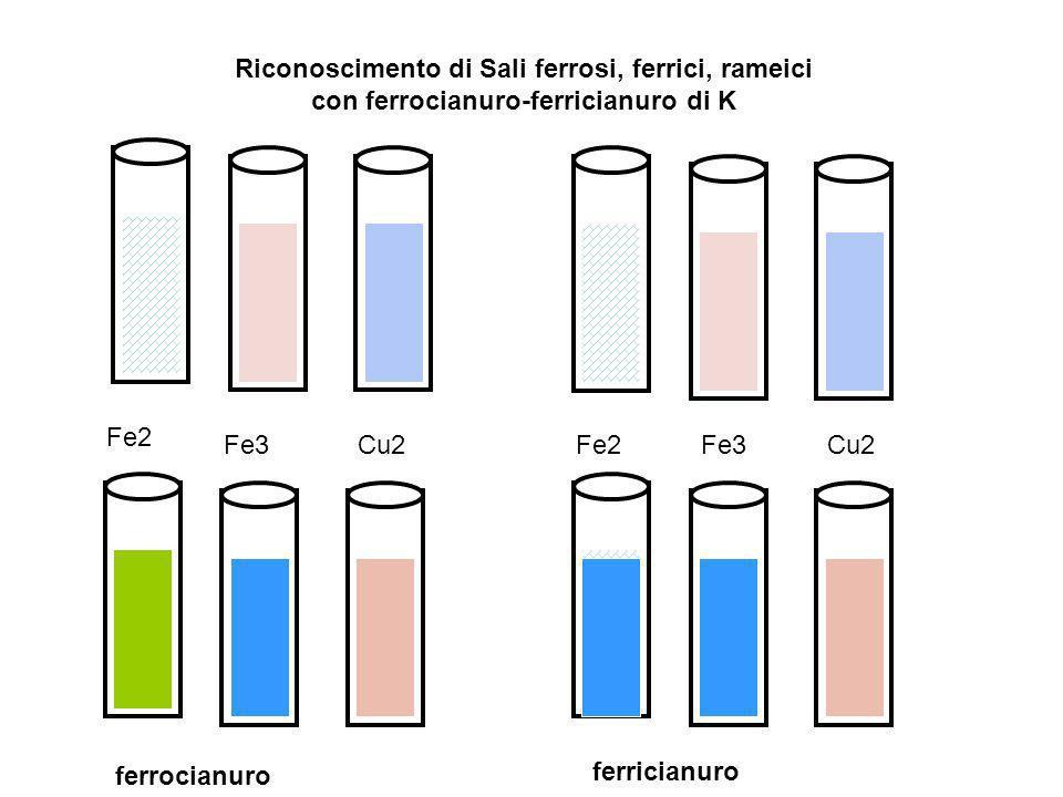 Riconoscimento di Sali ferrosi, ferrici, rameici con ferrocianuro-ferricianuro di K