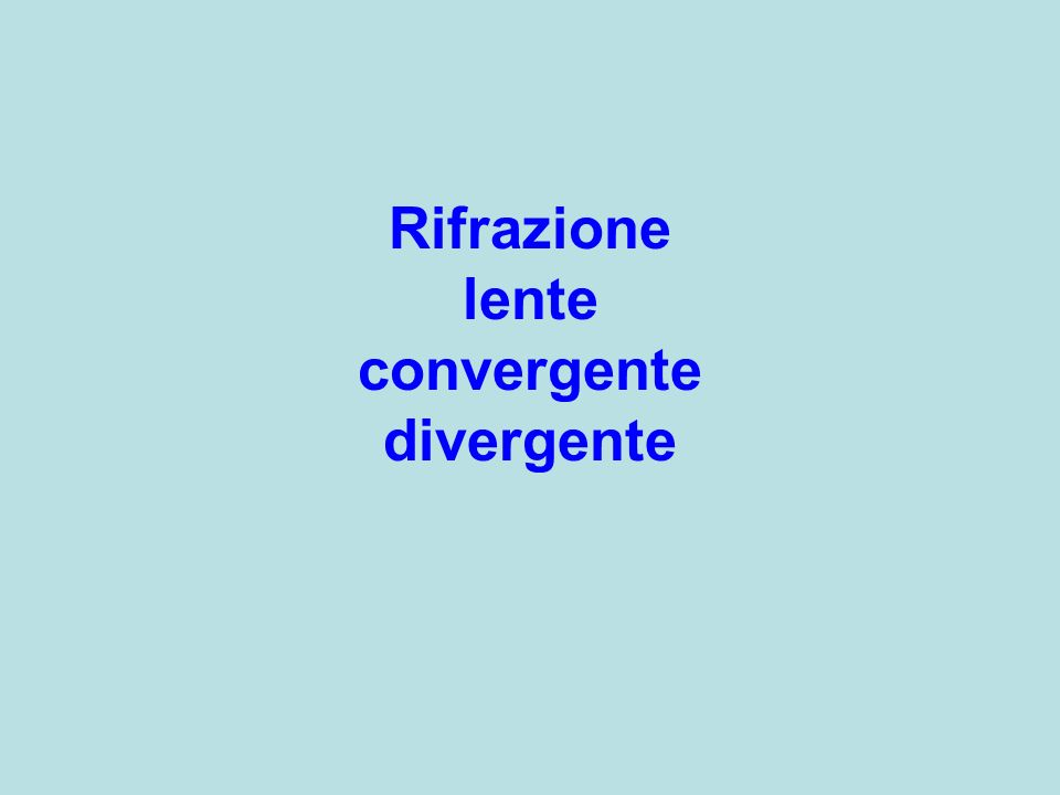 Rifrazione lente convergente divergente