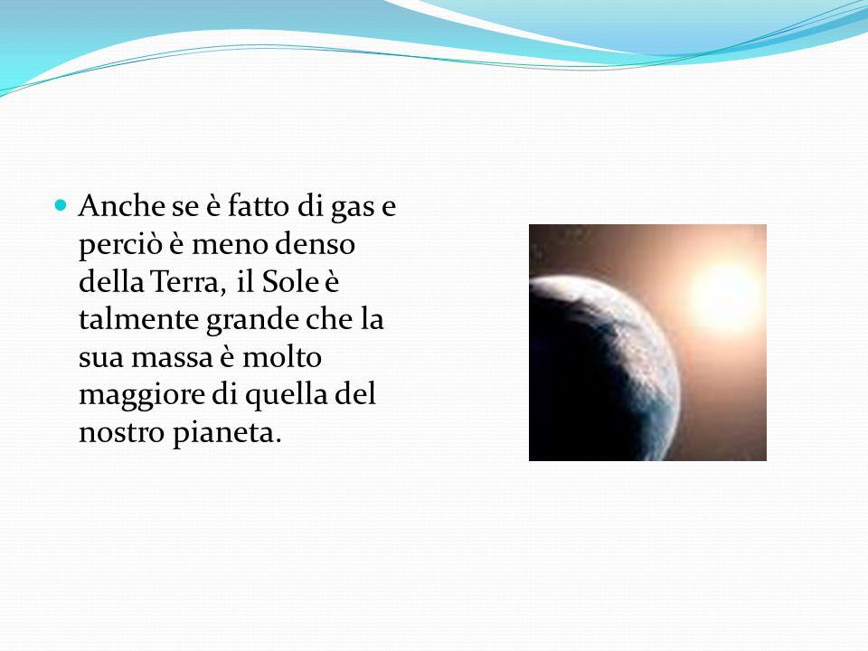 Anche se è fatto di gas e perciò è meno denso della Terra, il Sole è talmente grande che la sua massa è molto maggiore di quella del nostro pianeta.