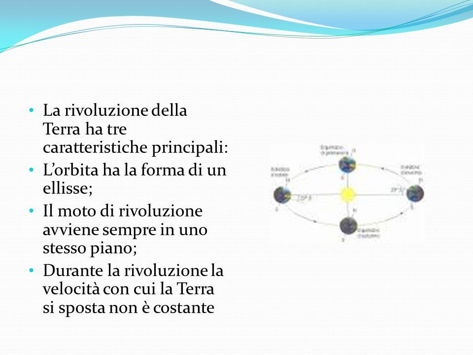 La rivoluzione della Terra ha tre caratteristiche principali: