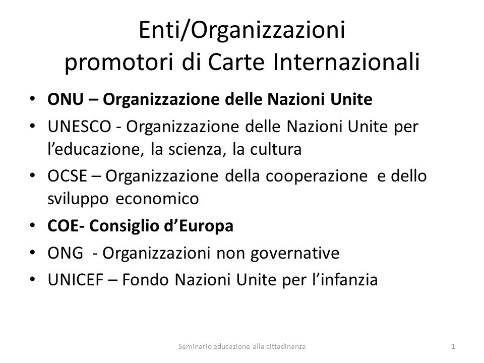 Enti/Organizzazioni promotori di Carte Internazionali