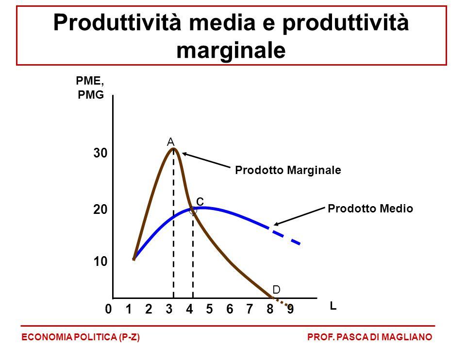 Produttività media e produttività marginale