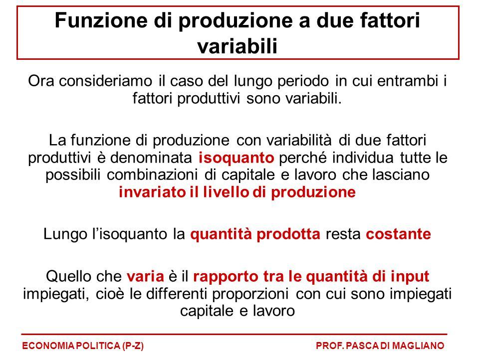 Funzione di produzione a due fattori variabili