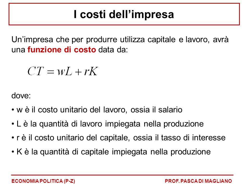 I costi dell'impresa Un'impresa che per produrre utilizza capitale e lavoro, avrà una funzione di costo data da: