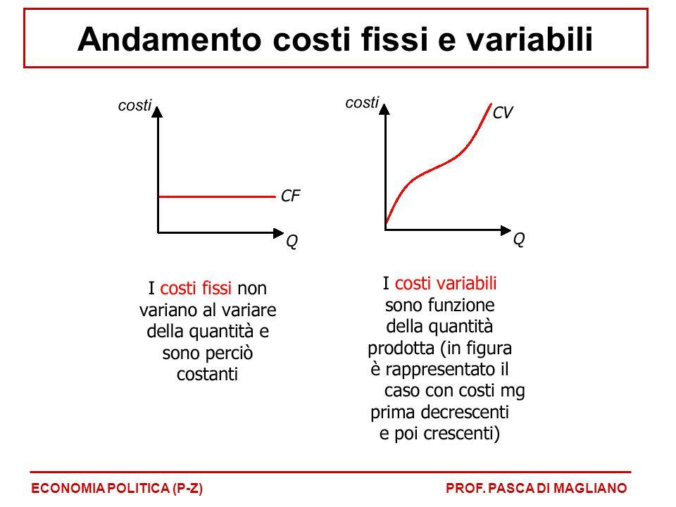 Andamento costi fissi e variabili