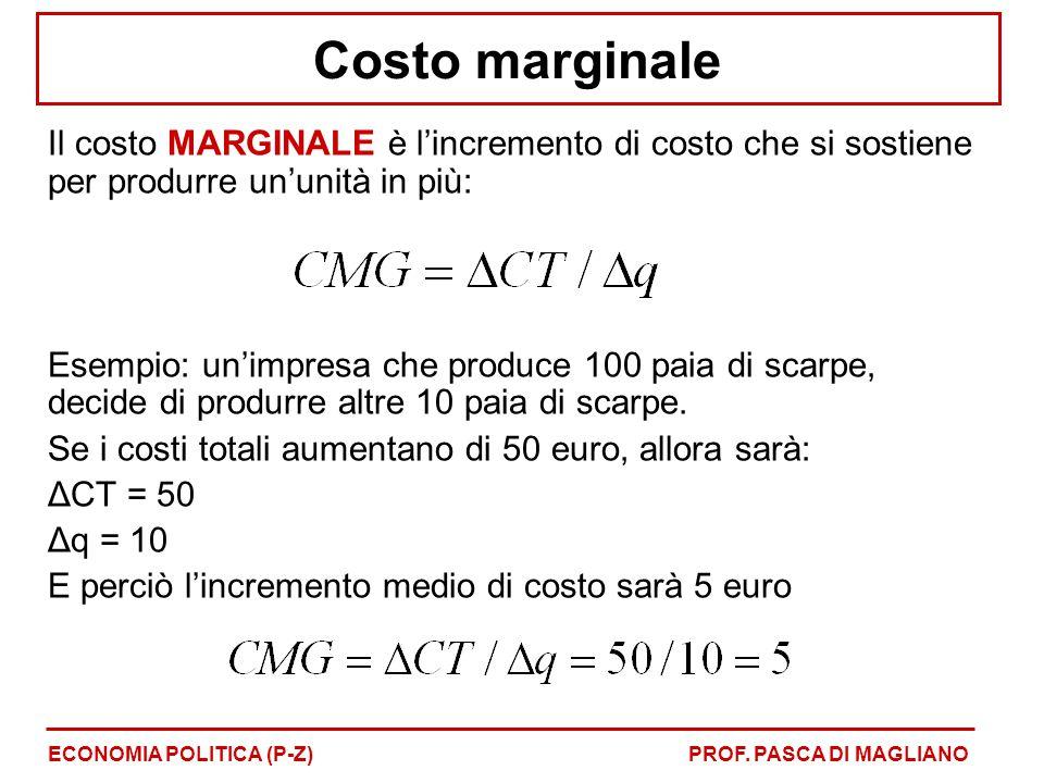 Costo marginale Il costo MARGINALE è l'incremento di costo che si sostiene per produrre un'unità in più: