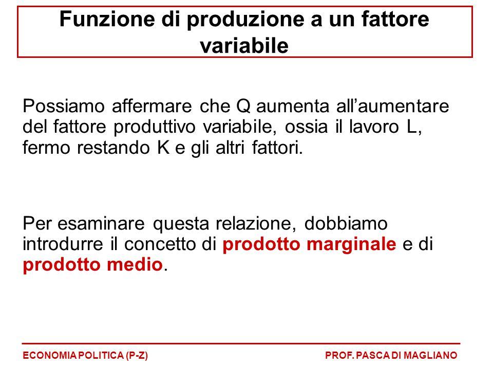 Funzione di produzione a un fattore variabile