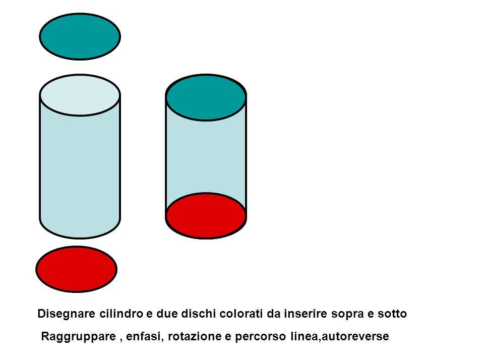 Disegnare cilindro e due dischi colorati da inserire sopra e sotto