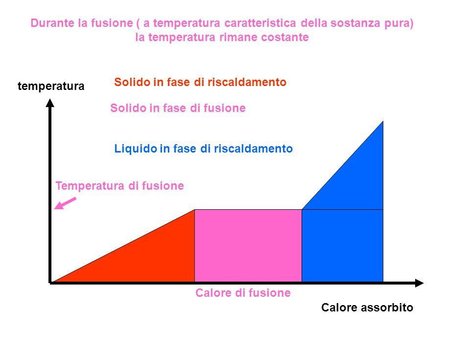 Durante la fusione ( a temperatura caratteristica della sostanza pura) la temperatura rimane costante