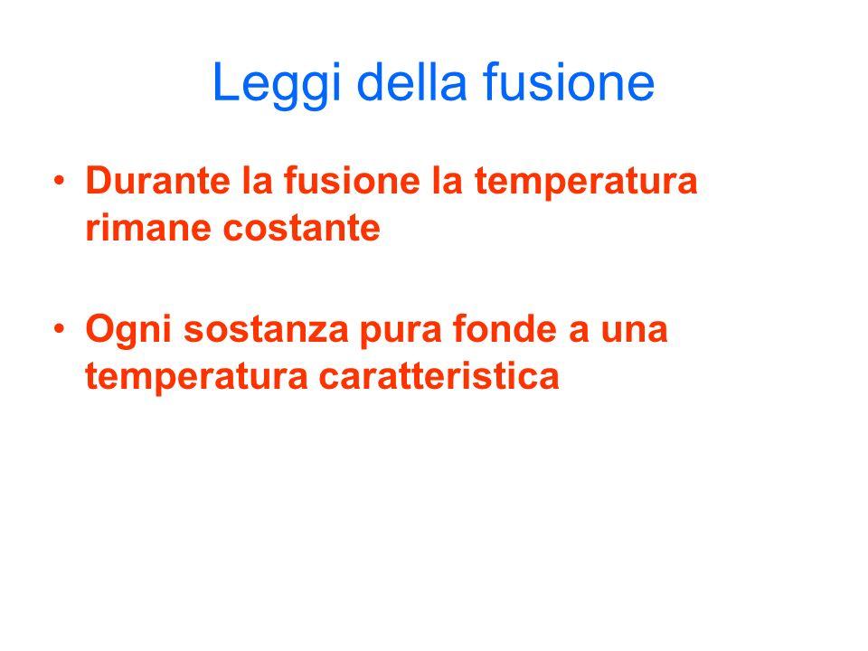 Leggi della fusione Durante la fusione la temperatura rimane costante