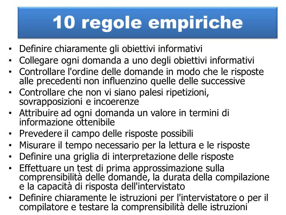10 regole empiriche Definire chiaramente gli obiettivi informativi