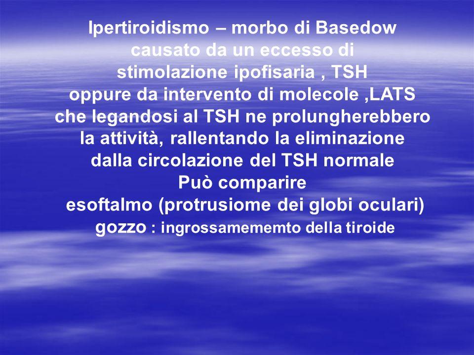 Ipertiroidismo – morbo di Basedow causato da un eccesso di stimolazione ipofisaria , TSH oppure da intervento di molecole ,LATS che legandosi al TSH ne prolungherebbero la attività, rallentando la eliminazione dalla circolazione del TSH normale Può comparire esoftalmo (protrusiome dei globi oculari) gozzo : ingrossamememto della tiroide