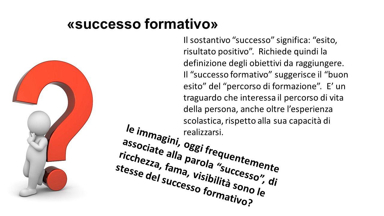«successo formativo» Il sostantivo successo significa: esito, risultato positivo . Richiede quindi la definizione degli obiettivi da raggiungere.