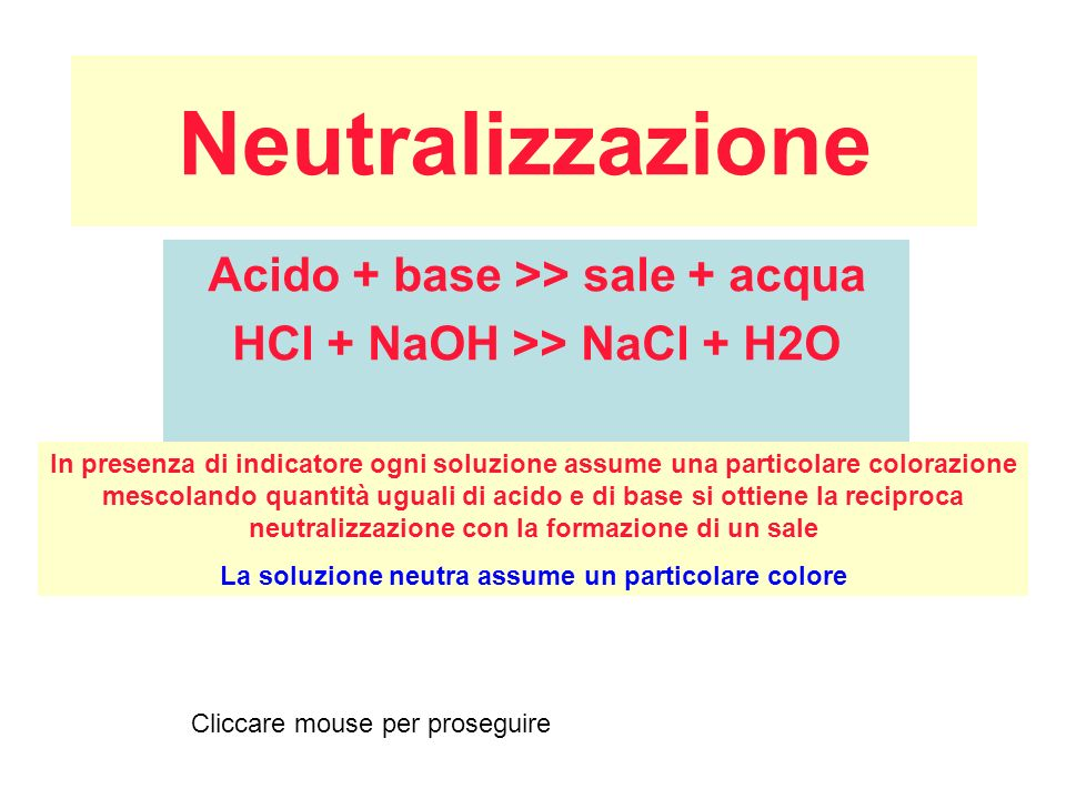 Acido + base >> sale + acqua HCl + NaOH >> NaCl + H2O