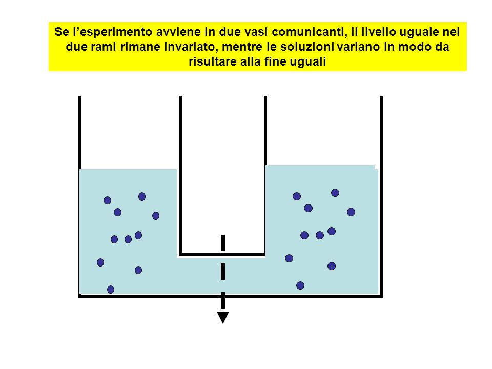 Se l'esperimento avviene in due vasi comunicanti, il livello uguale nei due rami rimane invariato, mentre le soluzioni variano in modo da risultare alla fine uguali