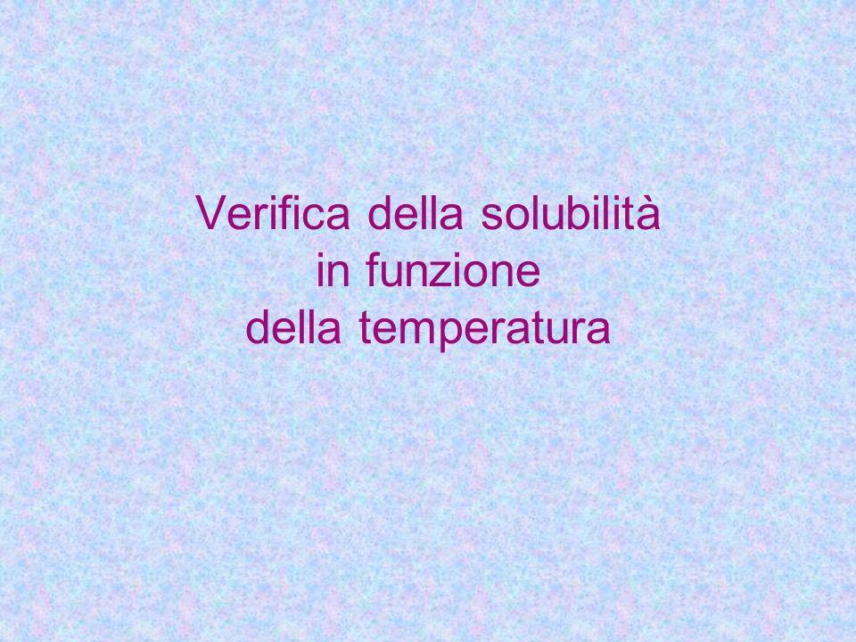 Verifica della solubilità in funzione della temperatura