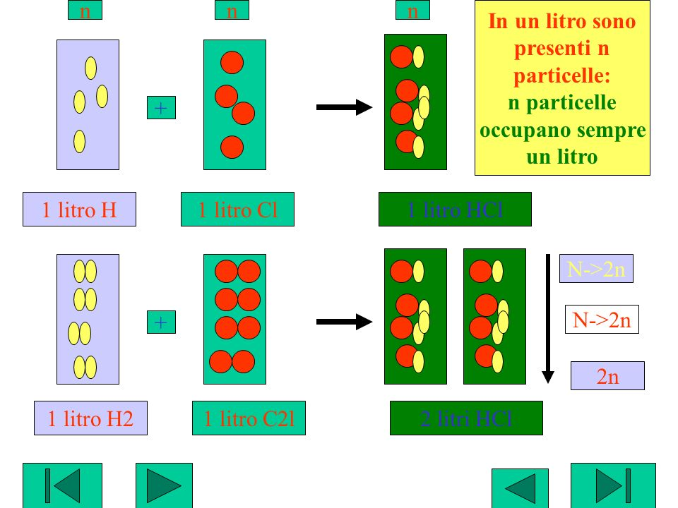 In un litro sono presenti n. particelle: n particelle. occupano sempre. un litro. n. N->2n. 2n.
