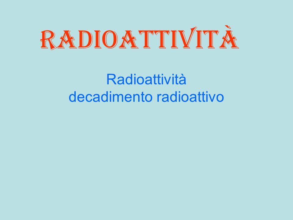 Radioattività decadimento radioattivo