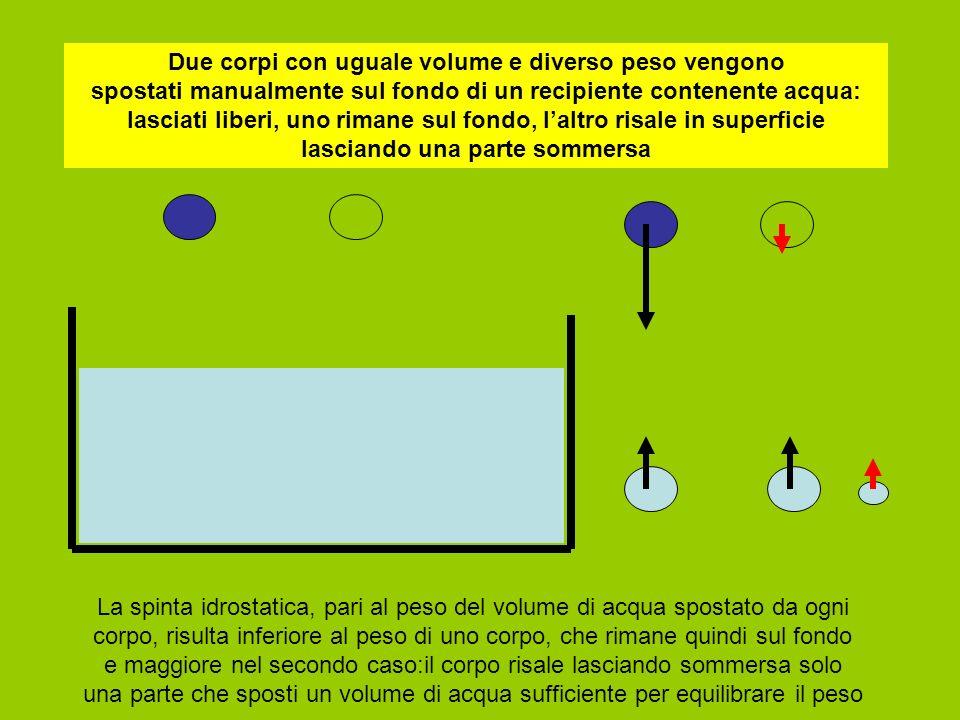 Due corpi con uguale volume e diverso peso vengono spostati manualmente sul fondo di un recipiente contenente acqua: lasciati liberi, uno rimane sul fondo, l'altro risale in superficie lasciando una parte sommersa