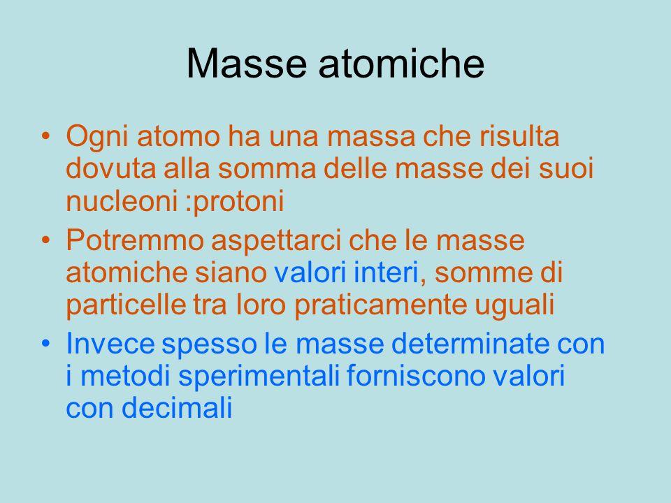Masse atomicheOgni atomo ha una massa che risulta dovuta alla somma delle masse dei suoi nucleoni :protoni.