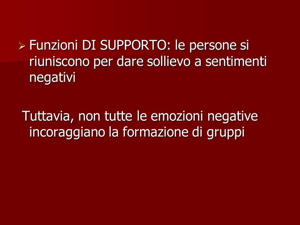 Funzioni DI SUPPORTO: le persone si riuniscono per dare sollievo a sentimenti negativi