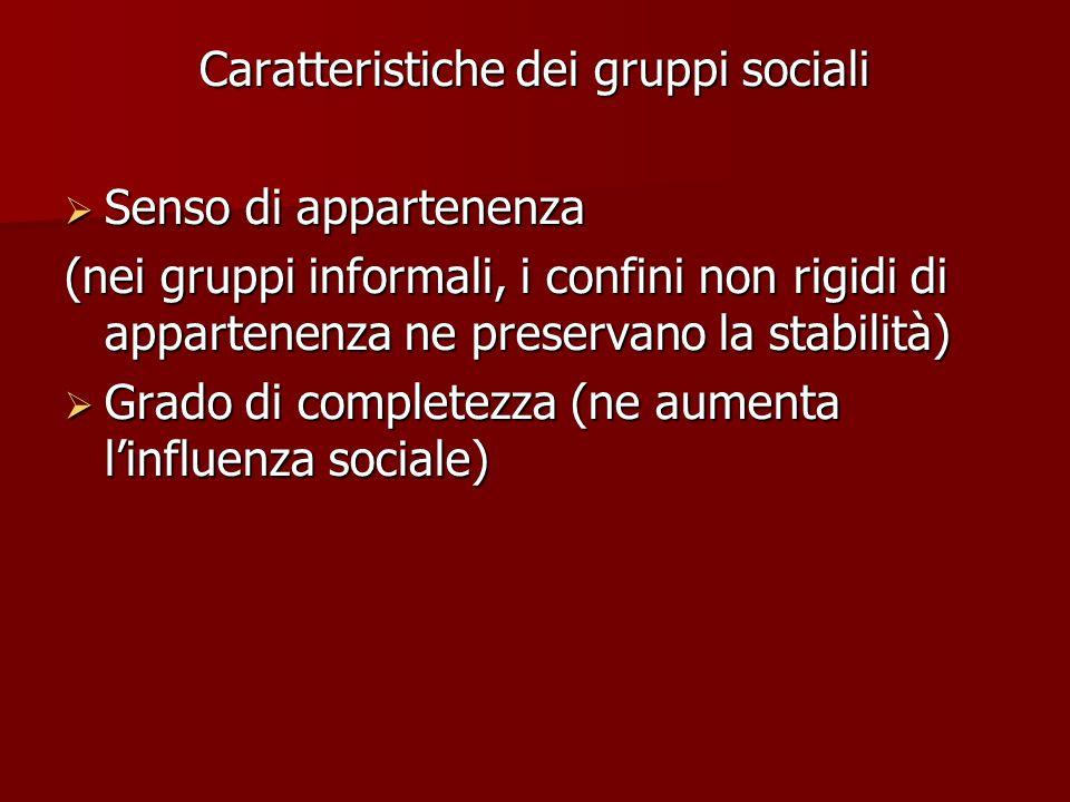 Caratteristiche dei gruppi sociali