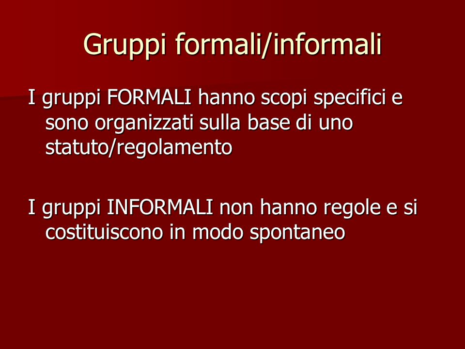 Gruppi formali/informali