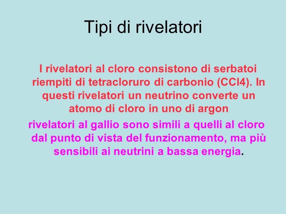 Tipi di rivelatori