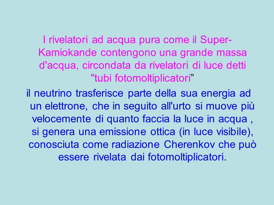 I rivelatori ad acqua pura come il Super-Kamiokande contengono una grande massa d acqua, circondata da rivelatori di luce detti tubi fotomoltiplicatori