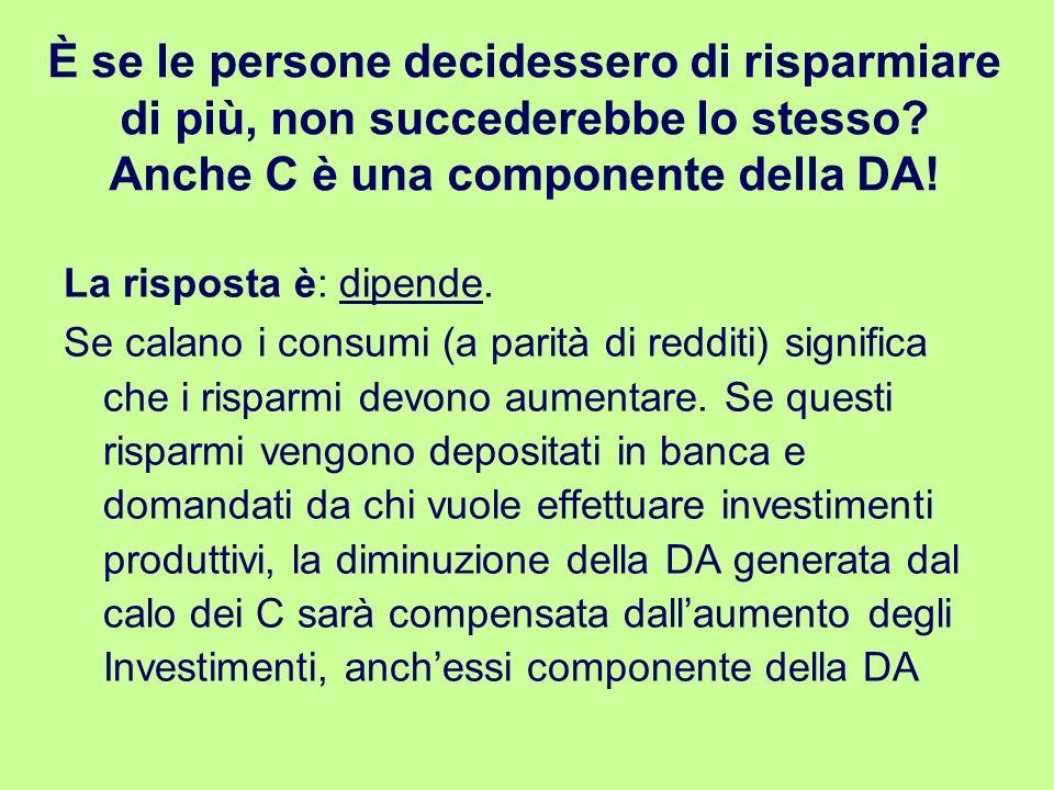 È se le persone decidessero di risparmiare di più, non succederebbe lo stesso Anche C è una componente della DA!