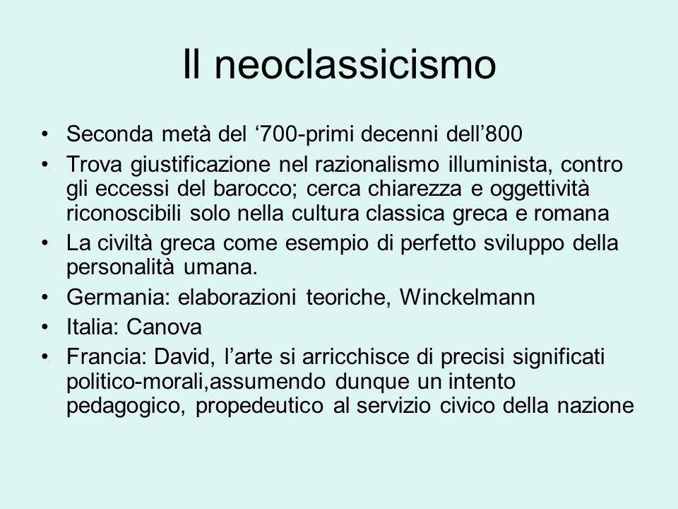 Il neoclassicismo Seconda metà del '700-primi decenni dell'800