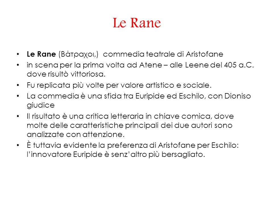 Le Rane Le Rane (Βάτραχοι,) commedia teatrale di Aristofane