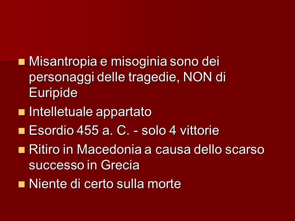 Misantropia e misoginia sono dei personaggi delle tragedie, NON di Euripide