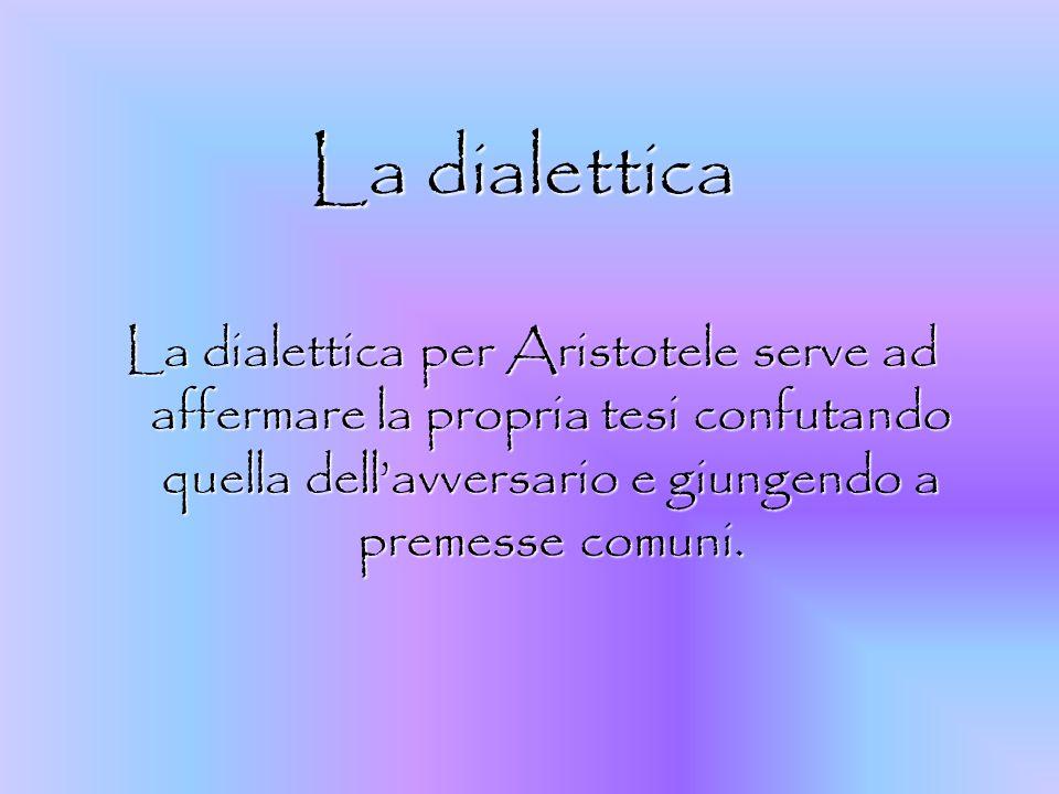 La dialetticaLa dialettica per Aristotele serve ad affermare la propria tesi confutando quella dell'avversario e giungendo a premesse comuni.