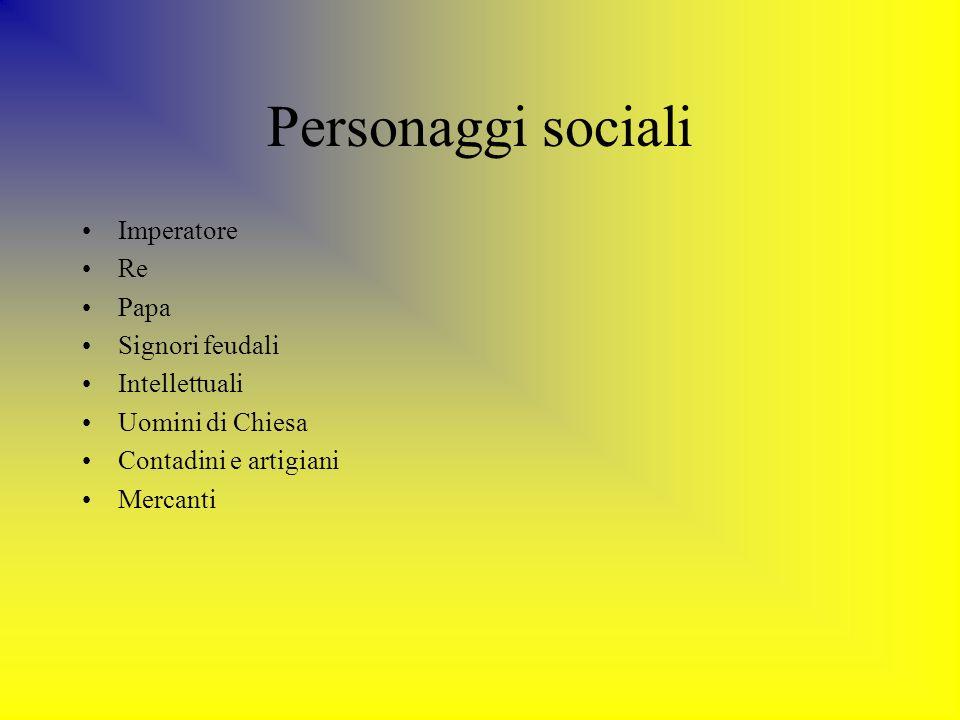 Personaggi sociali Imperatore Re Papa Signori feudali Intellettuali