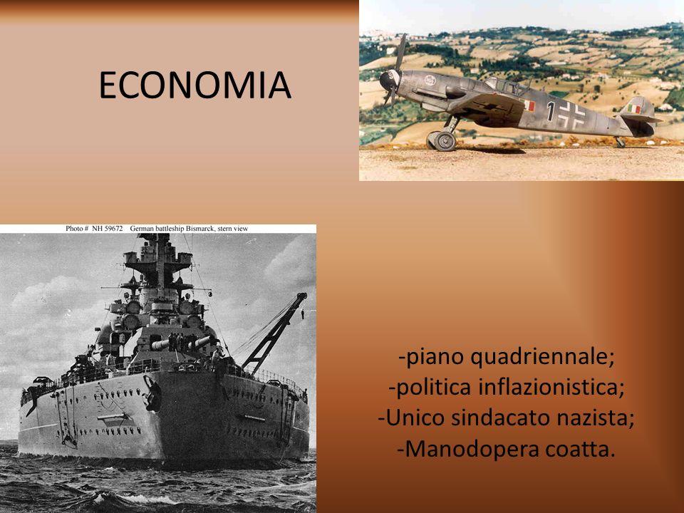 ECONOMIA -piano quadriennale; -politica inflazionistica;