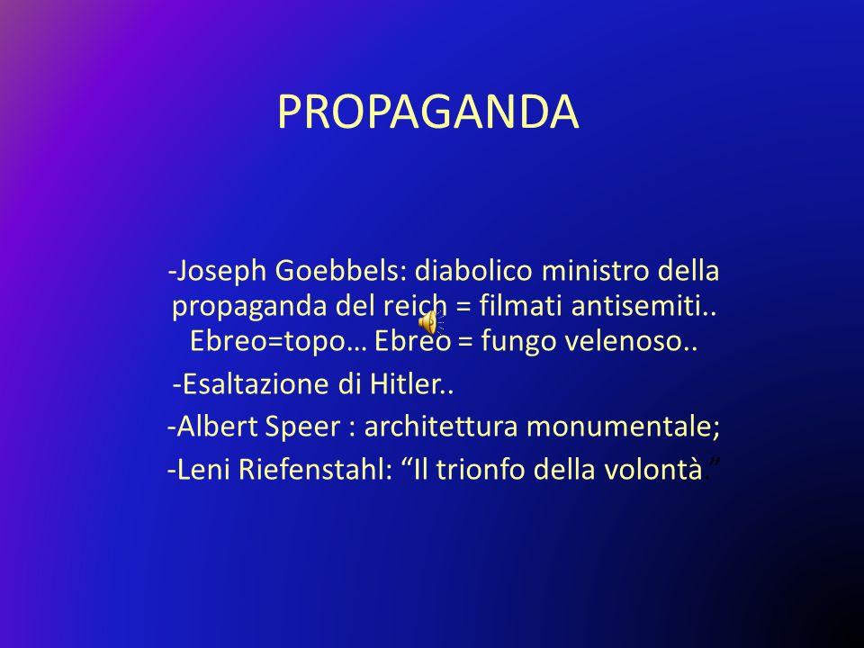 PROPAGANDA Joseph Goebbels: diabolico ministro della propaganda del reich = filmati antisemiti.. Ebreo=topo… Ebreo = fungo velenoso..