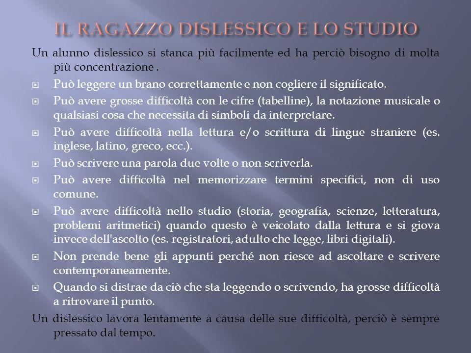 IL RAGAZZO DISLESSICO E LO STUDIO