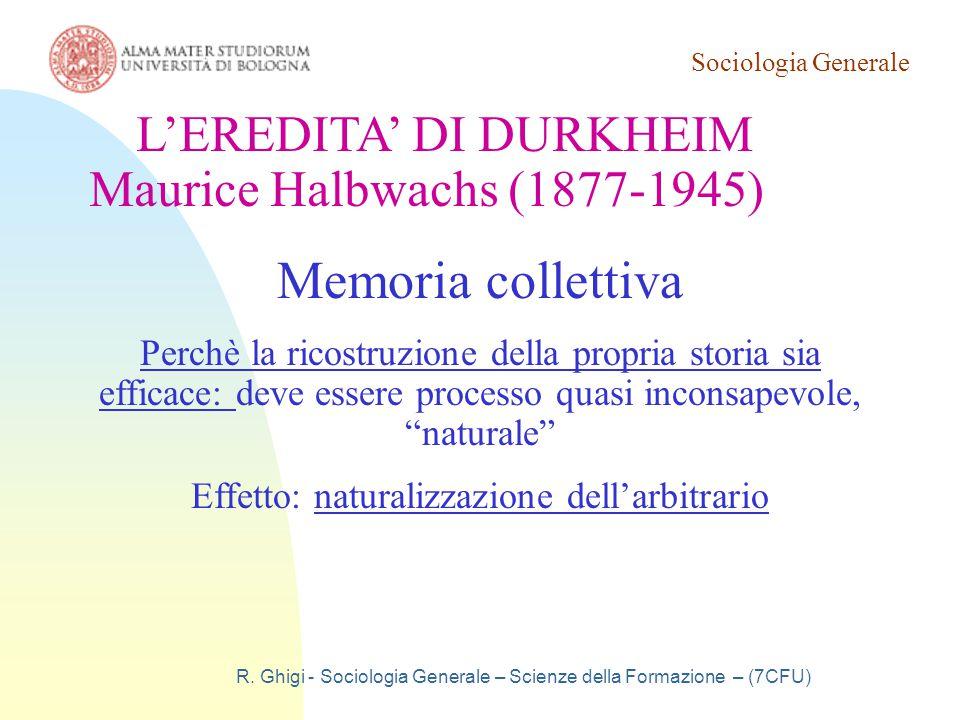 Memoria collettiva L'EREDITA' DI DURKHEIM