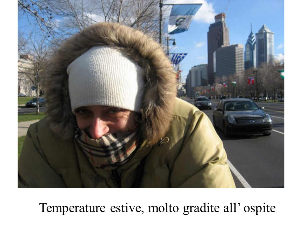 Temperature estive, molto gradite all' ospite