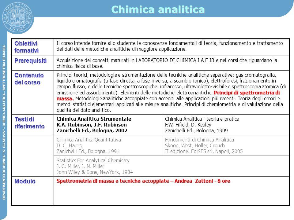 Chimica analitica Obiettivi formativi Prerequisiti Contenuto del corso