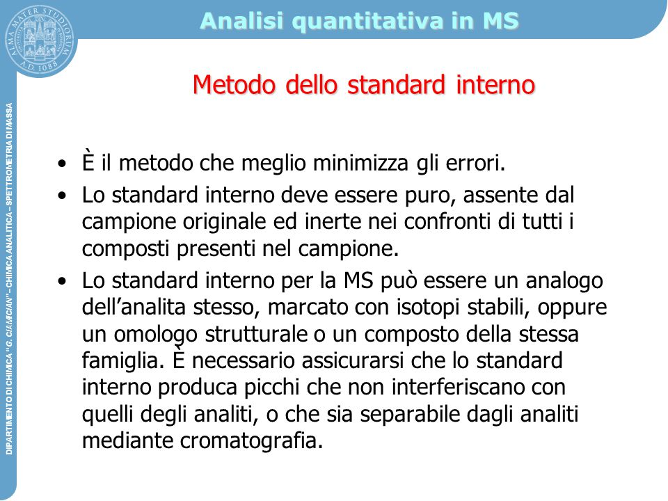Analisi quantitativa in MS
