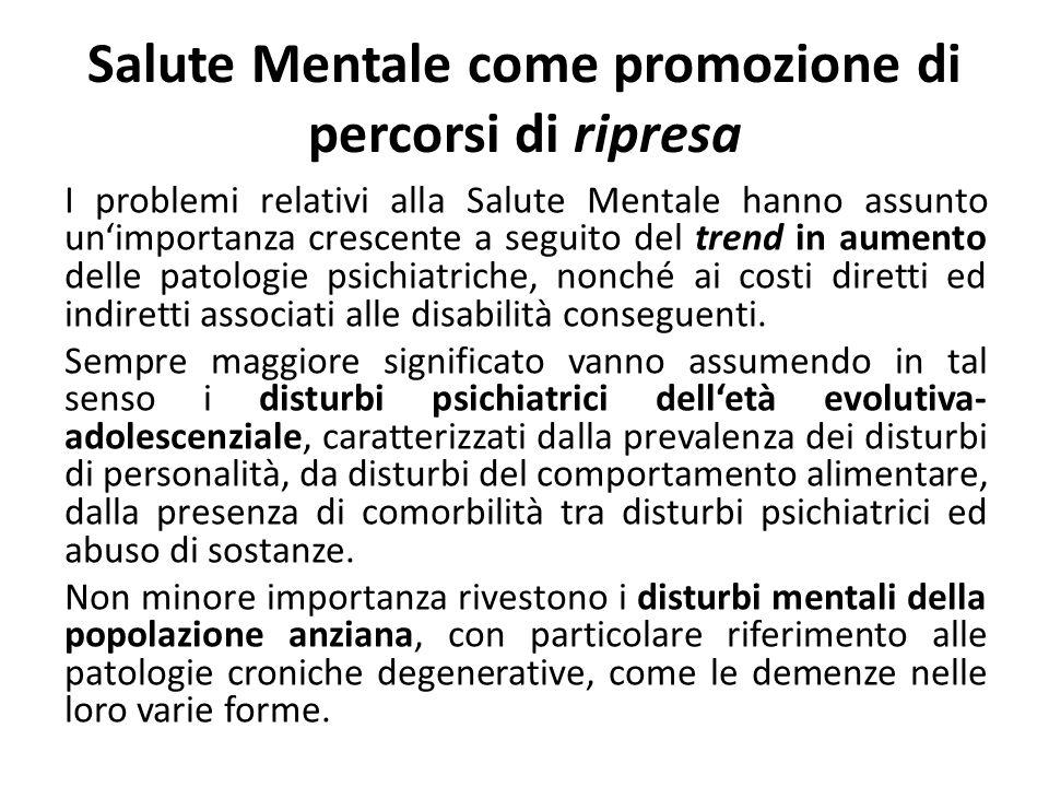 Salute Mentale come promozione di percorsi di ripresa