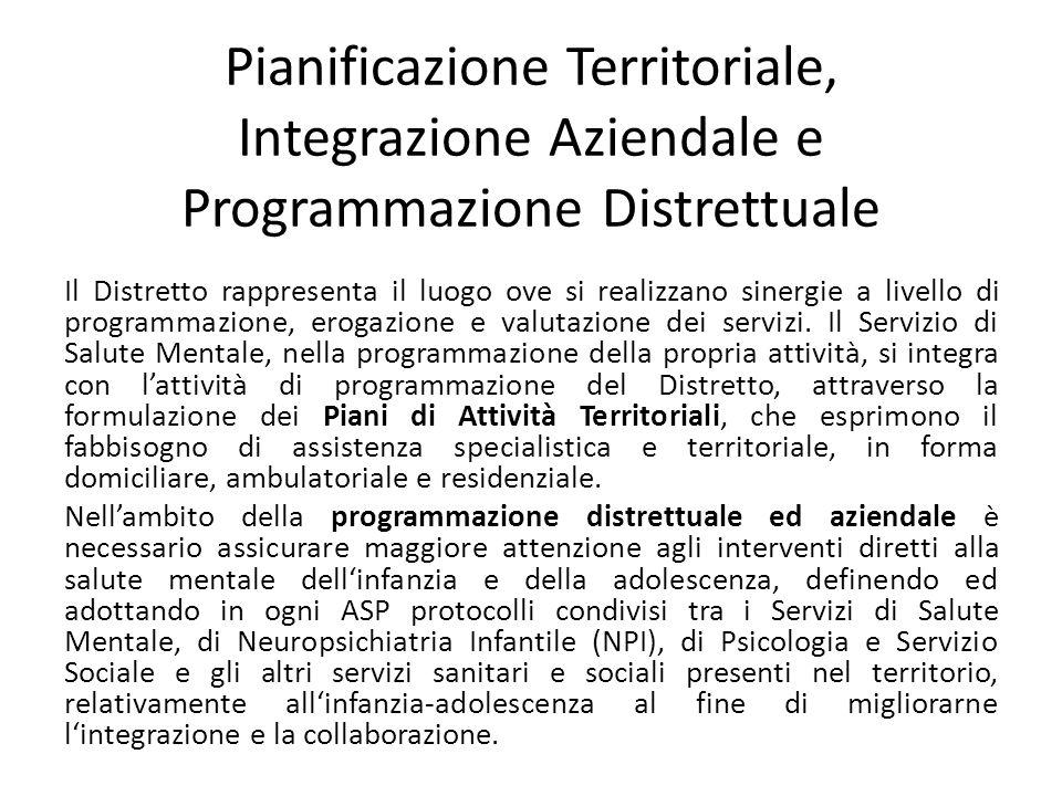 Pianificazione Territoriale, Integrazione Aziendale e Programmazione Distrettuale