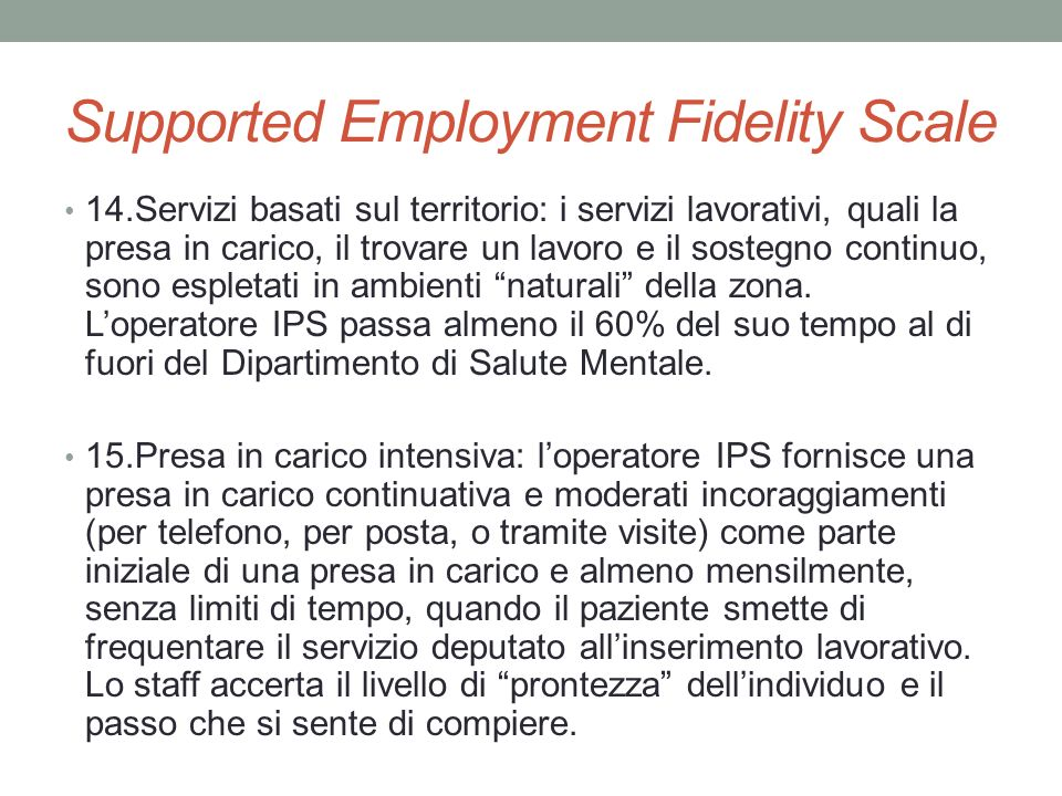 Supported Employment Fidelity Scale