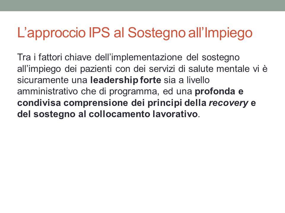 L'approccio IPS al Sostegno all'Impiego