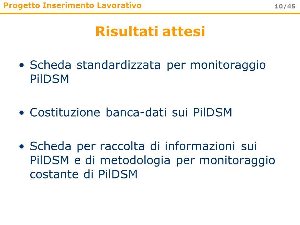 Risultati attesi Scheda standardizzata per monitoraggio PilDSM