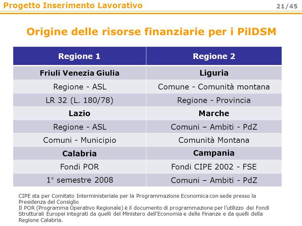 Origine delle risorse finanziarie per i PilDSM